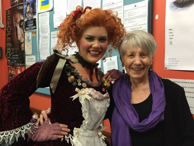 Dame Malvina Young Artist 2015 Amelia Berry in costume as Clorinda (from NZ Opera's production of La Cenerentola) with Trustee Angela Gorton