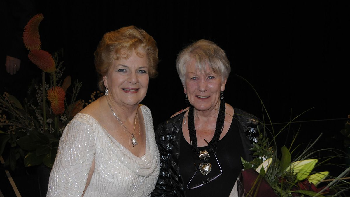 Dame Malvina Major and DMMF trustee Angela Gorton.