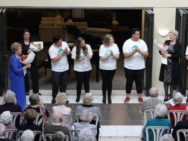 Dame Malvina with Anna Pierard and some of the young singers from Project Prima Volta, at the Dame Malvina Major Foundation showcase at Princess Alexandra Retirement Village, Napier